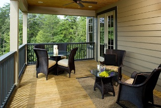 Photo Tour   Donald A  Gardner Architects  Inc  The Riva Ridge    The screen porch is spacious and has the option to add a corner fireplace  making it usable most of the year