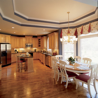 The Spacious Adjoining Kitchen Features An Island And Furniture Style Cabinets For A Traditional Feel