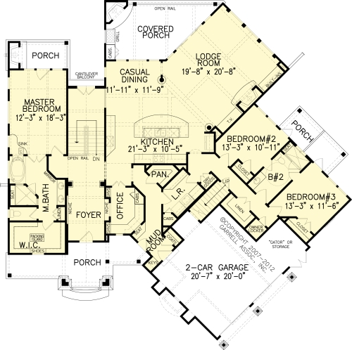 The Grist Mill Bungalow House Plans First Floor Plan