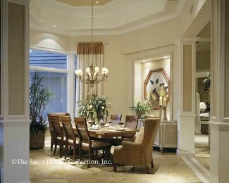 An Octagonal Tray Ceiling And Bay Windows Illuminate The Expansive Space Of Dining Room Lend Sophistication To Every Meal A Built In Buffet Fits