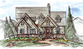 Timber bridge cottage house plan